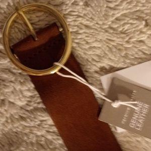 HM Suede/Polished Leather Belt, Size XL